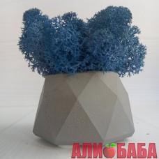Кашпо Серые Грани со мхом цвета Синий