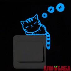 """Светящаяся в темноте наклейка """"Спящий котик"""""""